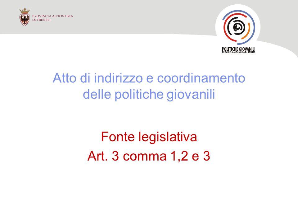 Atto di indirizzo e coordinamento delle politiche giovanili Fonte legislativa Art. 3 comma 1,2 e 3