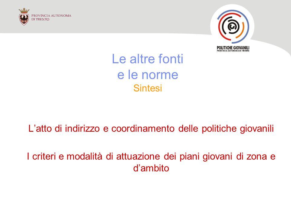 Atto di indirizzo e coordinamento delle politiche giovanili Deliberazione G.P.