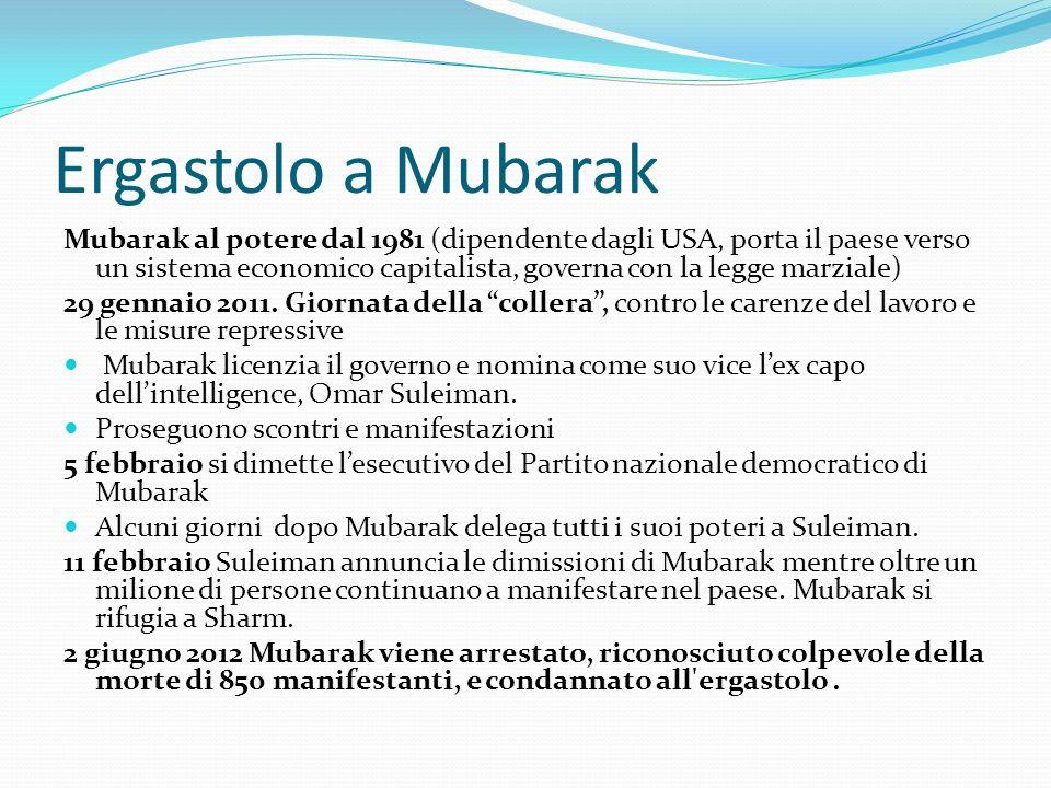 Ergastolo a Mubarak Mubarak al potere dal 1981 (dipendente dagli USA, porta il paese verso un sistema economico capitalista, governa con la legge marz