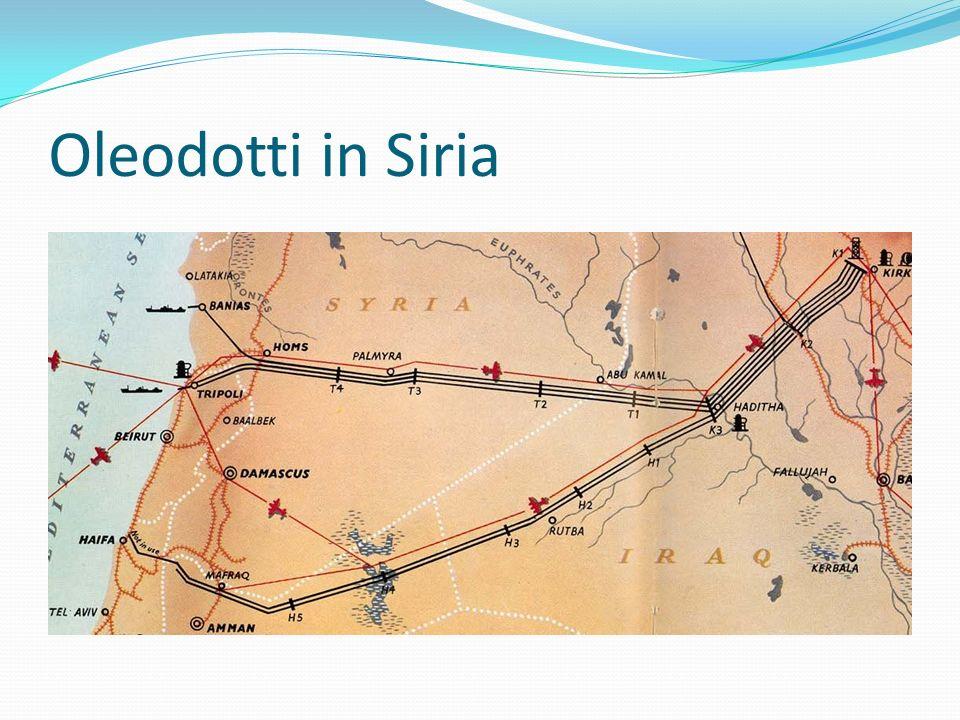 Ancora oleodotti Nel luglio 2011 lIran ha firmato accordi relativi al trasporto di gas attraverso lIraq e la Siria, accordi che rendono la Siria un punto di incontro e di produzione in collegamento con le riserve del Libano.