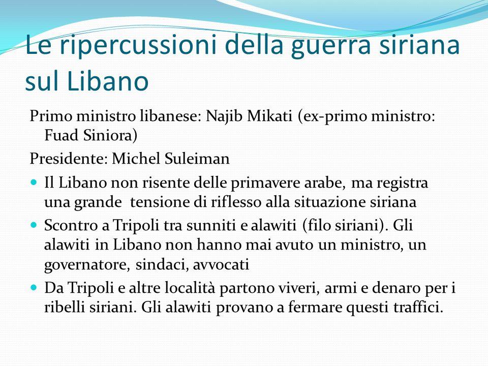 Le ripercussioni della guerra siriana sul Libano Primo ministro libanese: Najib Mikati (ex-primo ministro: Fuad Siniora) Presidente: Michel Suleiman I
