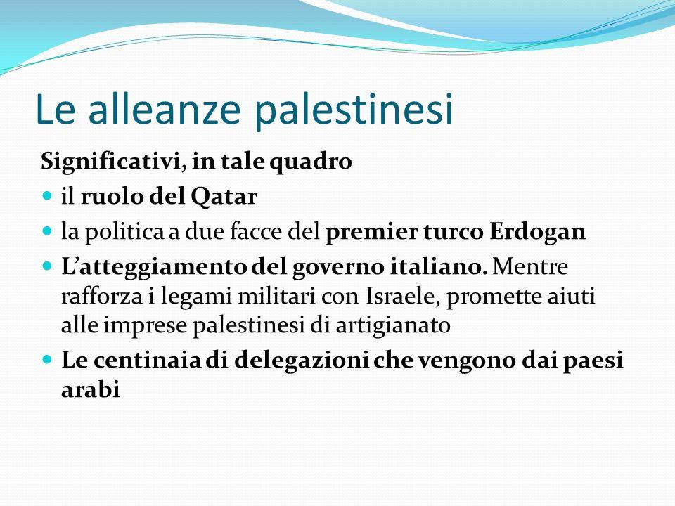 Le alleanze palestinesi Significativi, in tale quadro il ruolo del Qatar la politica a due facce del premier turco Erdogan Latteggiamento del governo