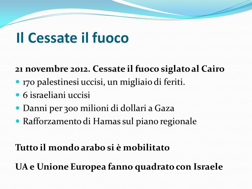 Il Cessate il fuoco 21 novembre 2012. Cessate il fuoco siglato al Cairo 170 palestinesi uccisi, un migliaio di feriti. 6 israeliani uccisi Danni per 3
