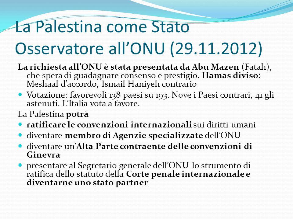 La Palestina come Stato Osservatore allONU (29.11.2012) La richiesta allONU è stata presentata da Abu Mazen (Fatah), che spera di guadagnare consenso