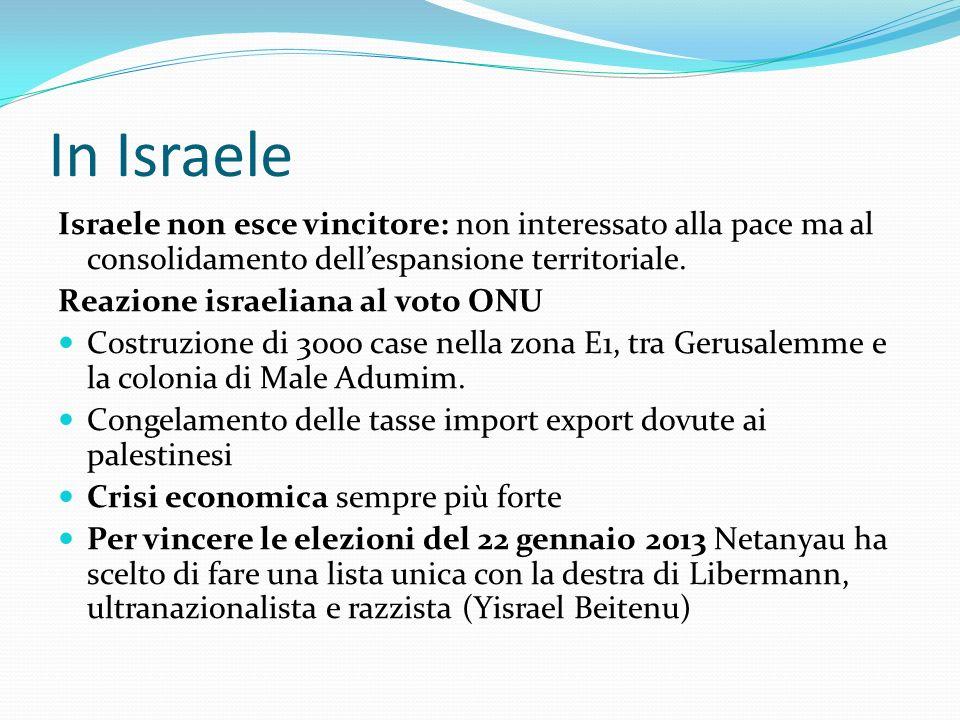 In Israele Israele non esce vincitore: non interessato alla pace ma al consolidamento dellespansione territoriale. Reazione israeliana al voto ONU Cos
