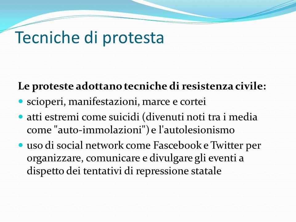 Tecniche di protesta Le proteste adottano tecniche di resistenza civile: scioperi, manifestazioni, marce e cortei atti estremi come suicidi (divenuti
