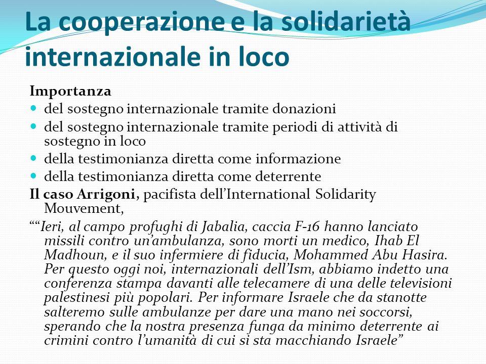 La cooperazione e la solidarietà internazionale in loco Importanza del sostegno internazionale tramite donazioni del sostegno internazionale tramite p
