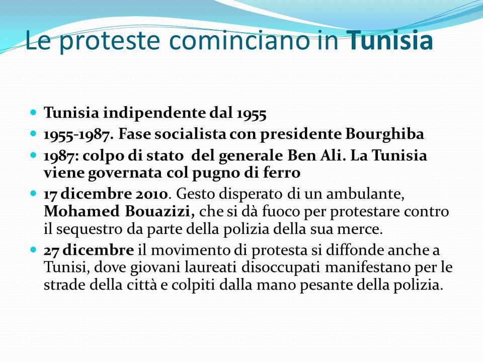 Le proteste cominciano in Tunisia Tunisia indipendente dal 1955 1955-1987. Fase socialista con presidente Bourghiba 1987: colpo di stato del generale
