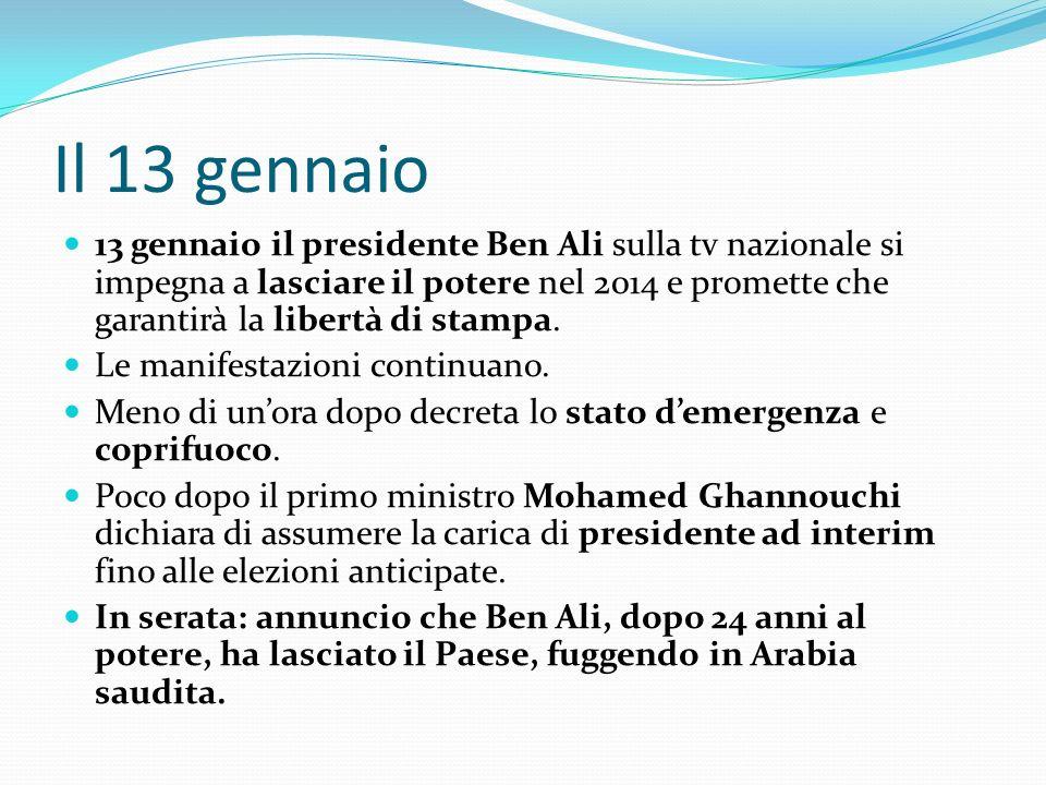 Il 13 gennaio 13 gennaio il presidente Ben Ali sulla tv nazionale si impegna a lasciare il potere nel 2014 e promette che garantirà la libertà di stam
