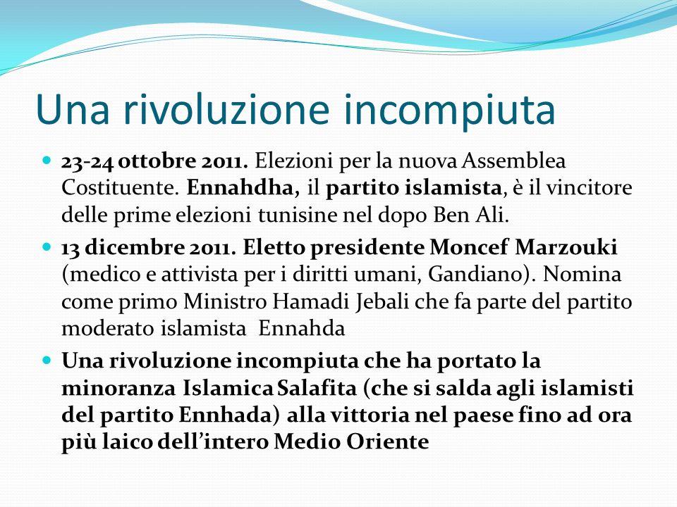 Una rivoluzione incompiuta 23-24 ottobre 2011. Elezioni per la nuova Assemblea Costituente. Ennahdha, il partito islamista, è il vincitore delle prime