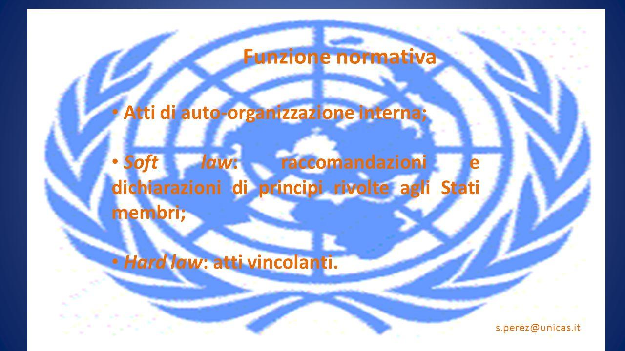 Funzione normativa Atti di auto-organizzazione interna; Soft law: raccomandazioni e dichiarazioni di principi rivolte agli Stati membri; Hard law: att