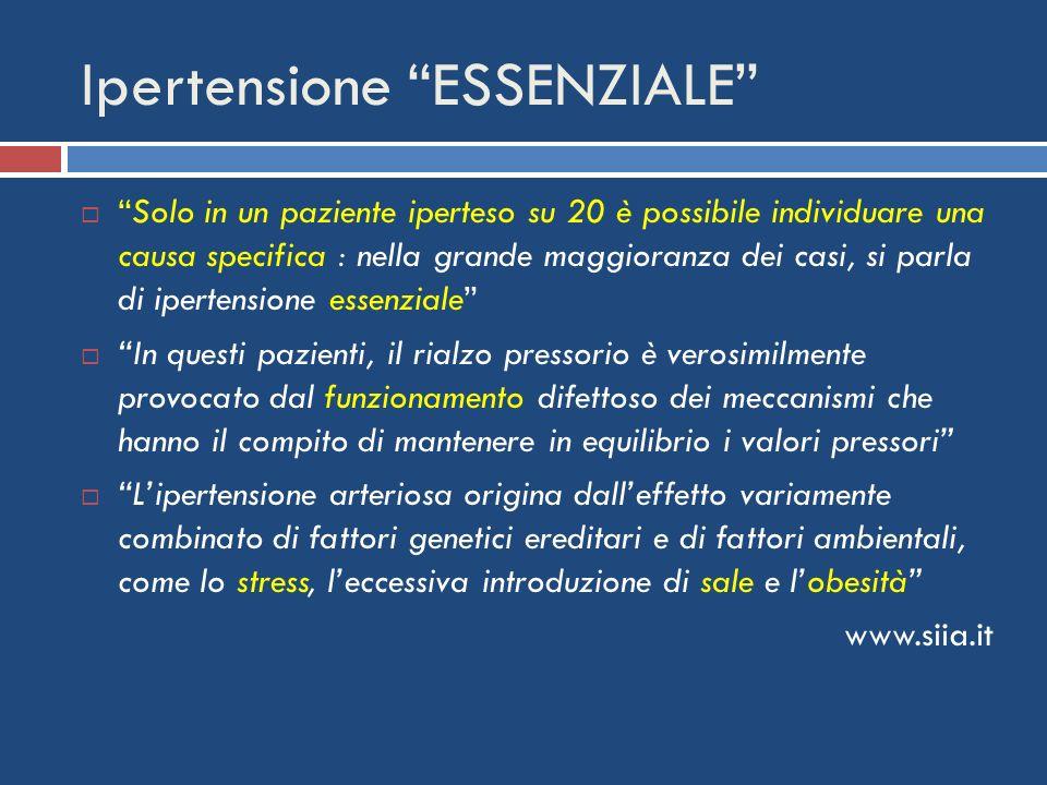 Ipertensione ESSENZIALE Solo in un paziente iperteso su 20 è possibile individuare una causa specifica : nella grande maggioranza dei casi, si parla d