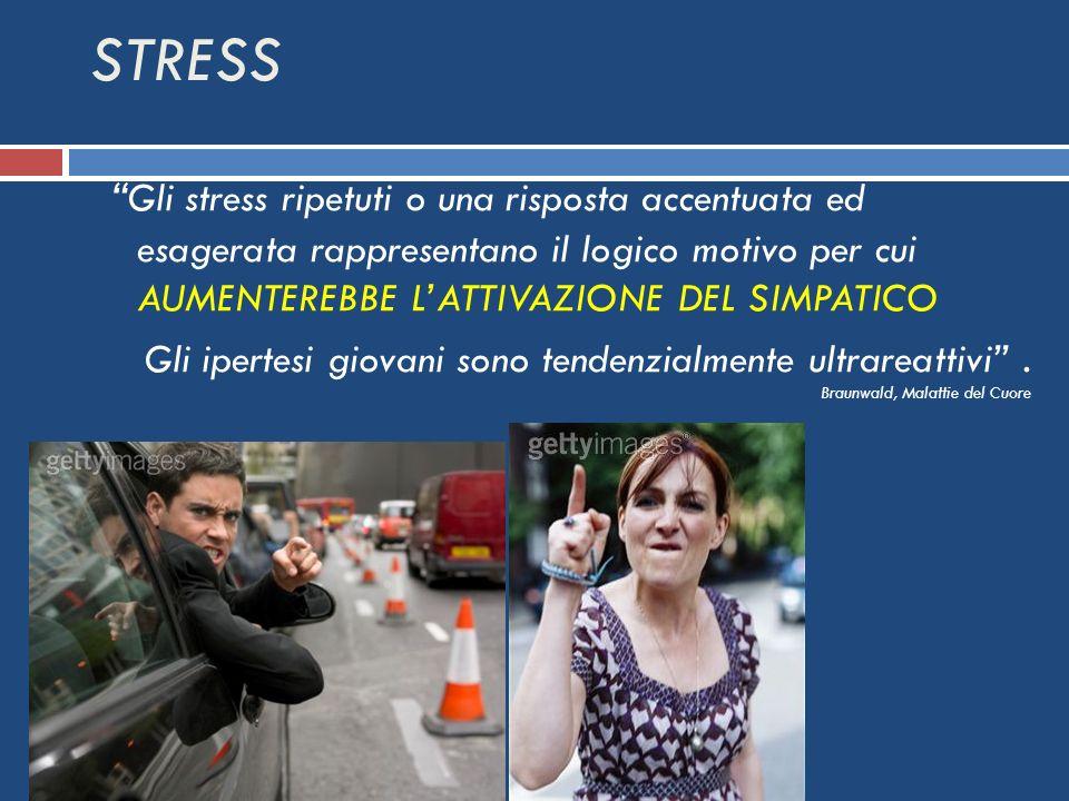 Gli stress ripetuti o una risposta accentuata ed esagerata rappresentano il logico motivo per cui AUMENTEREBBE LATTIVAZIONE DEL SIMPATICO Gli ipertesi