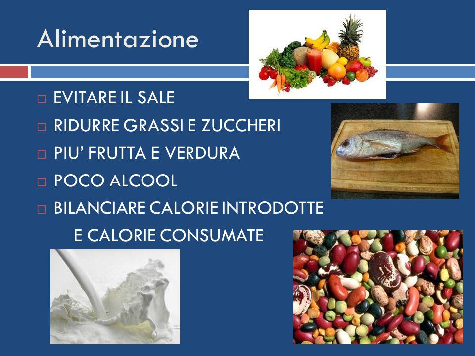 Alimentazione EVITARE IL SALE RIDURRE GRASSI E ZUCCHERI PIU FRUTTA E VERDURA POCO ALCOOL BILANCIARE CALORIE INTRODOTTE E CALORIE CONSUMATE
