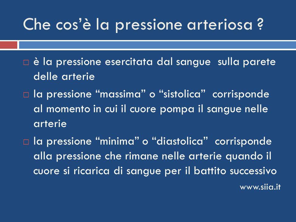 Che cosè la pressione arteriosa ? è la pressione esercitata dal sangue sulla parete delle arterie la pressione massima o sistolica corrisponde al mome