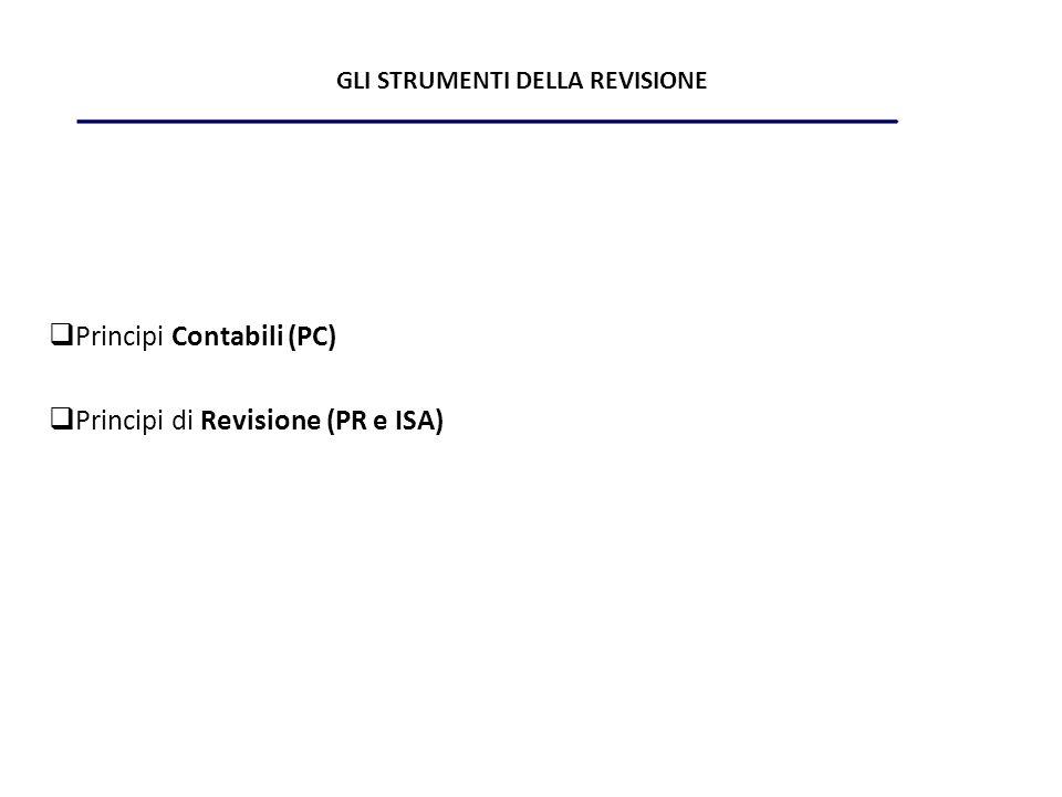 GLI STRUMENTI DELLA REVISIONE Principi Contabili (PC) Principi di Revisione (PR e ISA)