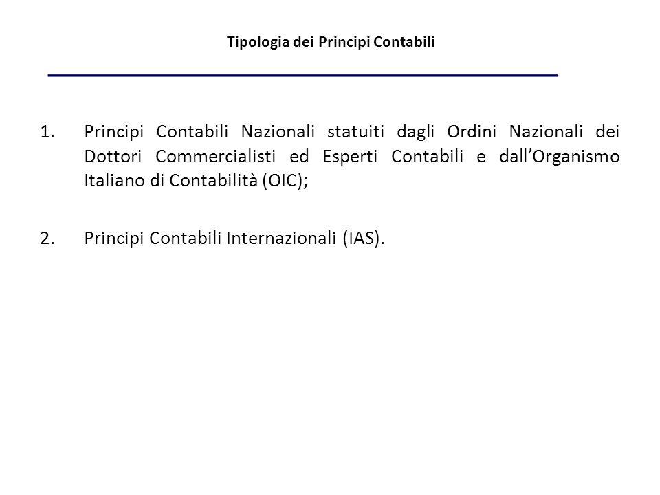 Tipologia dei Principi Contabili 1.Principi Contabili Nazionali statuiti dagli Ordini Nazionali dei Dottori Commercialisti ed Esperti Contabili e dallOrganismo Italiano di Contabilità (OIC); 2.