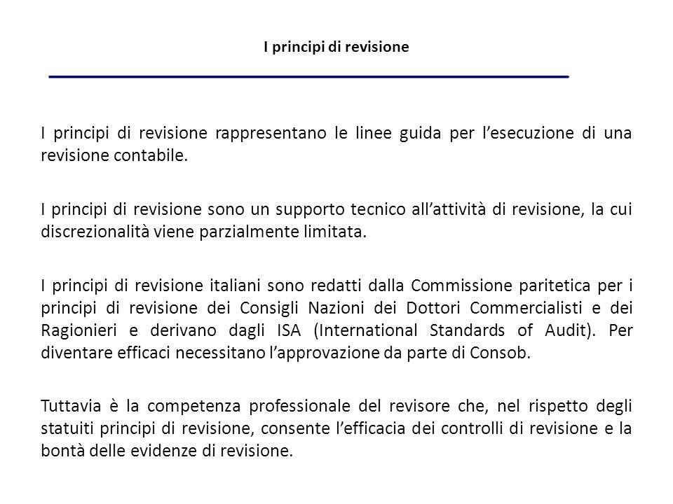I principi di revisione I principi di revisione rappresentano le linee guida per lesecuzione di una revisione contabile.