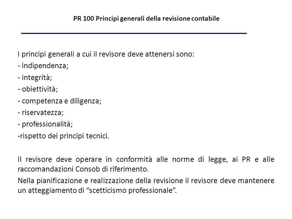 PR 100 Principi generali della revisione contabile I principi generali a cui il revisore deve attenersi sono: - indipendenza; - integrità; - obiettività; - competenza e diligenza; - riservatezza; - professionalità; -rispetto dei principi tecnici.