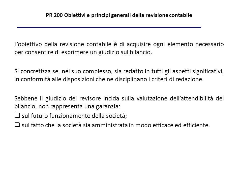 PR 200 Obiettivi e principi generali della revisione contabile Lobiettivo della revisione contabile è di acquisire ogni elemento necessario per consentire di esprimere un giudizio sul bilancio.