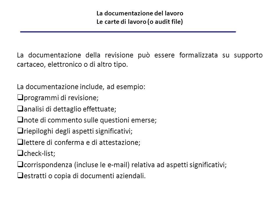 La documentazione del lavoro Le carte di lavoro (o audit file) La documentazione della revisione può essere formalizzata su supporto cartaceo, elettronico o di altro tipo.