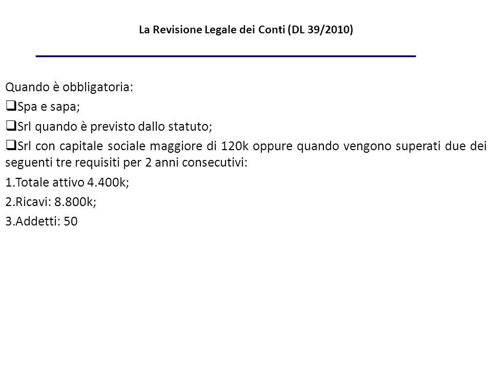 La Revisione Legale dei Conti (DL 39/2010) Quando è obbligatoria: Spa e sapa; Srl quando è previsto dallo statuto; Srl con capitale sociale maggiore di 120k oppure quando vengono superati due dei seguenti tre requisiti per 2 anni consecutivi: 1.Totale attivo 4.400k; 2.Ricavi: 8.800k; 3.Addetti: 50