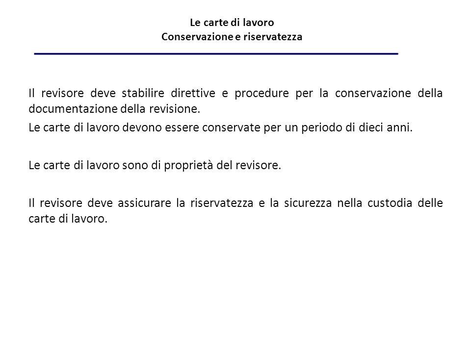 Le carte di lavoro Conservazione e riservatezza Il revisore deve stabilire direttive e procedure per la conservazione della documentazione della revisione.