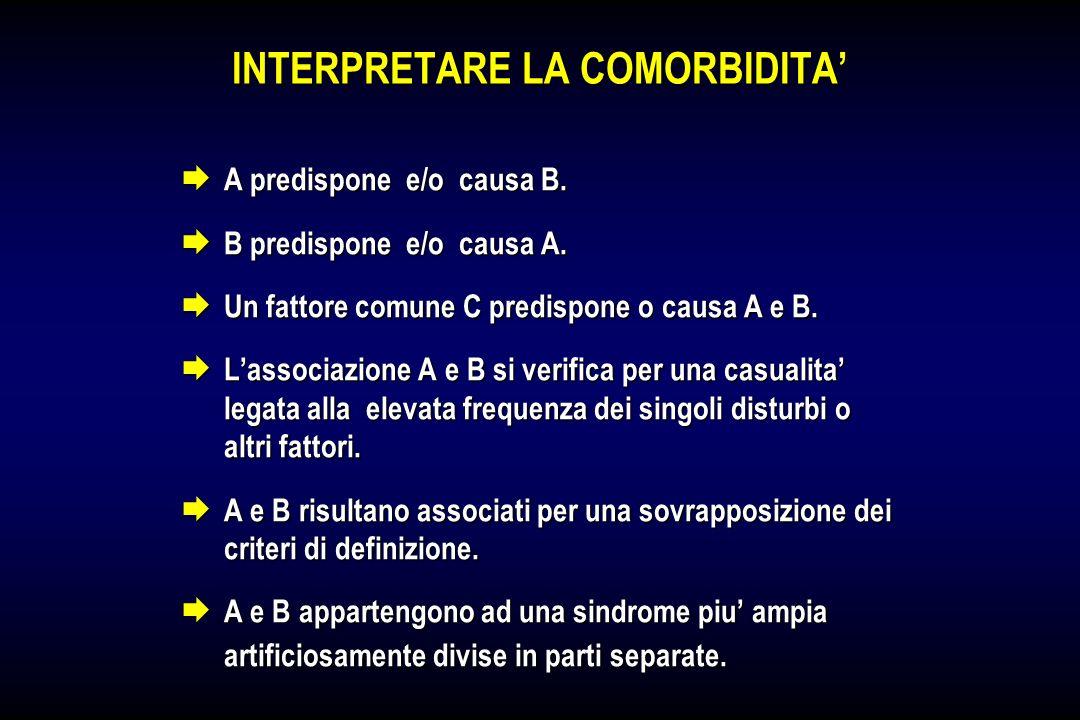 INTERPRETARE LA COMORBIDITA A predispone e/o causa B. A predispone e/o causa B. B predispone e/o causa A. B predispone e/o causa A. Un fattore comune