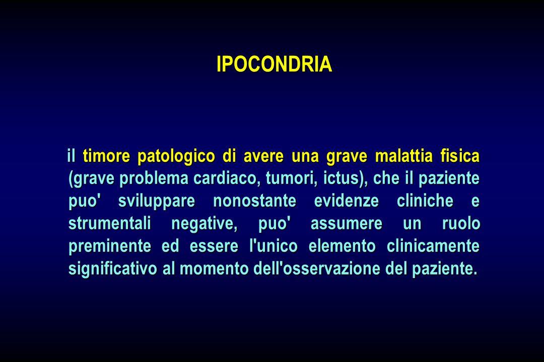 il timore patologico di avere una grave malattia fisica (grave problema cardiaco, tumori, ictus), che il paziente puo' sviluppare nonostante evidenze