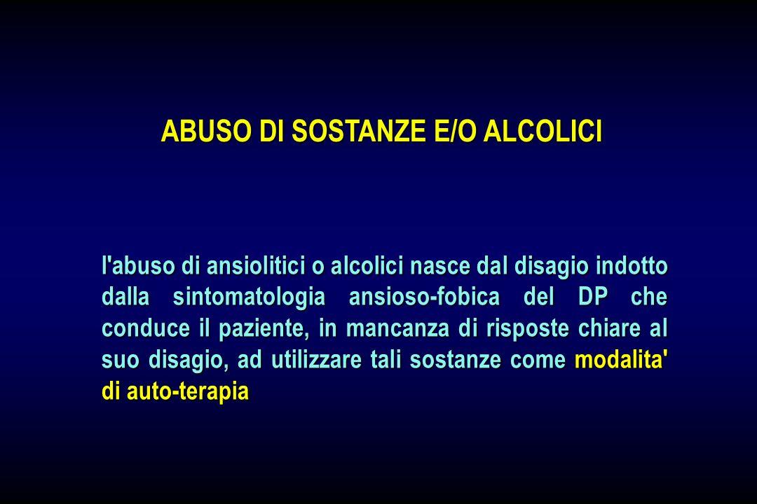 l'abuso di ansiolitici o alcolici nasce dal disagio indotto dalla sintomatologia ansioso-fobica del DP che conduce il paziente, in mancanza di rispost