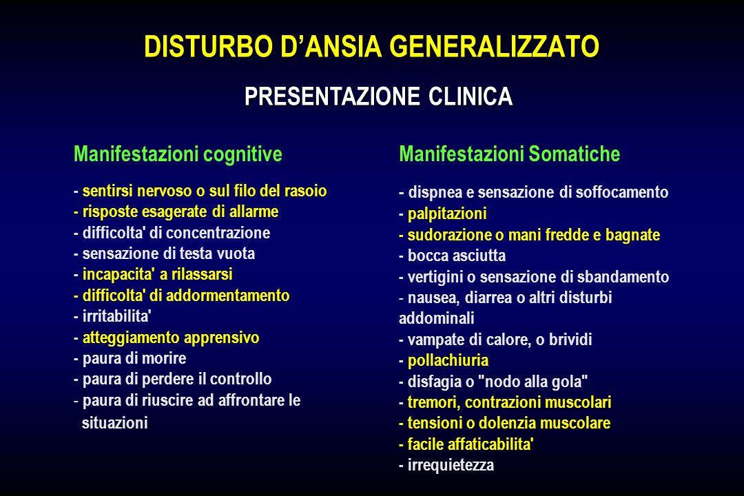 DISTURBO DANSIA GENERALIZZATO PRESENTAZIONE CLINICA Manifestazioni cognitiveManifestazioni Somatiche - sentirsi nervoso o sul filo del rasoio - rispos