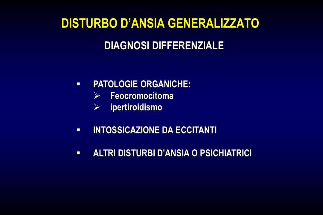 DISTURBO DANSIA GENERALIZZATO PATOLOGIE ORGANICHE: PATOLOGIE ORGANICHE: Feocromocitoma Feocromocitoma ipertiroidismo ipertiroidismo INTOSSICAZIONE DA