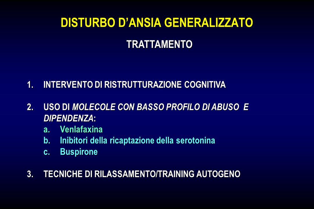 DISTURBO DANSIA GENERALIZZATO 1.INTERVENTO DI RISTRUTTURAZIONE COGNITIVA 2.USO DI MOLECOLE CON BASSO PROFILO DI ABUSO E DIPENDENZA : a.Venlafaxina b.I