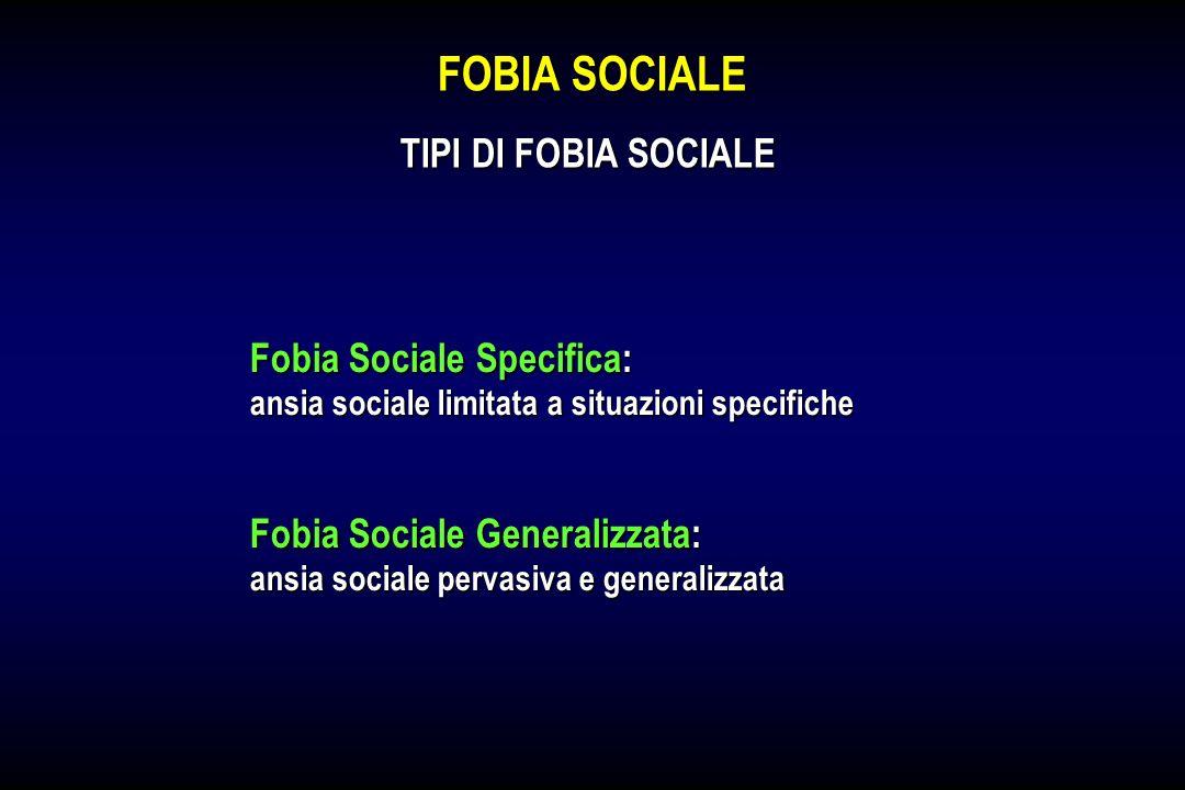 FOBIA SOCIALE TIPI DI FOBIA SOCIALE Fobia Sociale Specifica: ansia sociale limitata a situazioni specifiche Fobia Sociale Generalizzata: ansia sociale