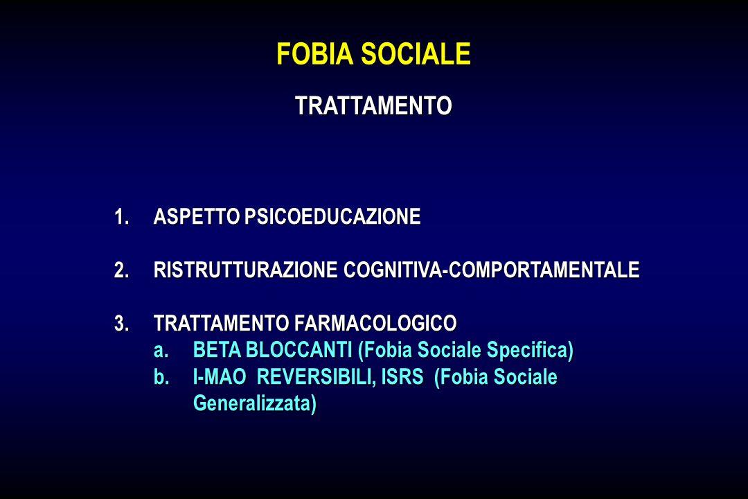 FOBIA SOCIALE 1.ASPETTO PSICOEDUCAZIONE 2.RISTRUTTURAZIONE COGNITIVA-COMPORTAMENTALE 3.TRATTAMENTO FARMACOLOGICO a.BETA BLOCCANTI (Fobia Sociale Speci