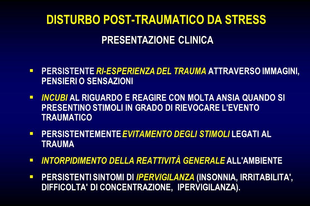 DISTURBO POST-TRAUMATICO DA STRESS PERSISTENTE RI-ESPERIENZA DEL TRAUMA ATTRAVERSO IMMAGINI, PENSIERI O SENSAZIONI INCUBI AL RIGUARDO E REAGIRE CON MO