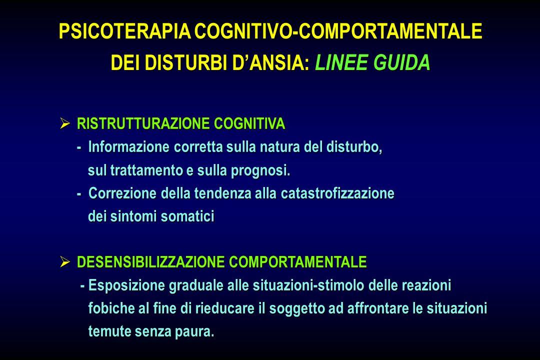 RISTRUTTURAZIONE COGNITIVA RISTRUTTURAZIONE COGNITIVA - Informazione corretta sulla natura del disturbo, sul trattamento e sulla prognosi. sul trattam