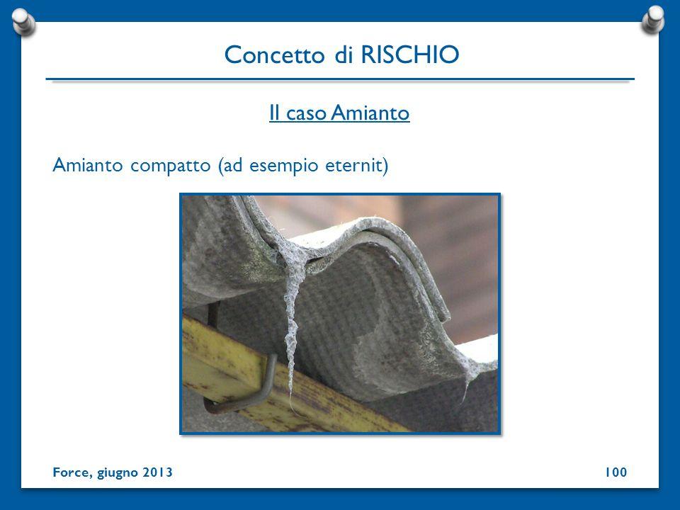 Amianto compatto (ad esempio eternit) Concetto di RISCHIO Force, giugno 2013 Il caso Amianto 100
