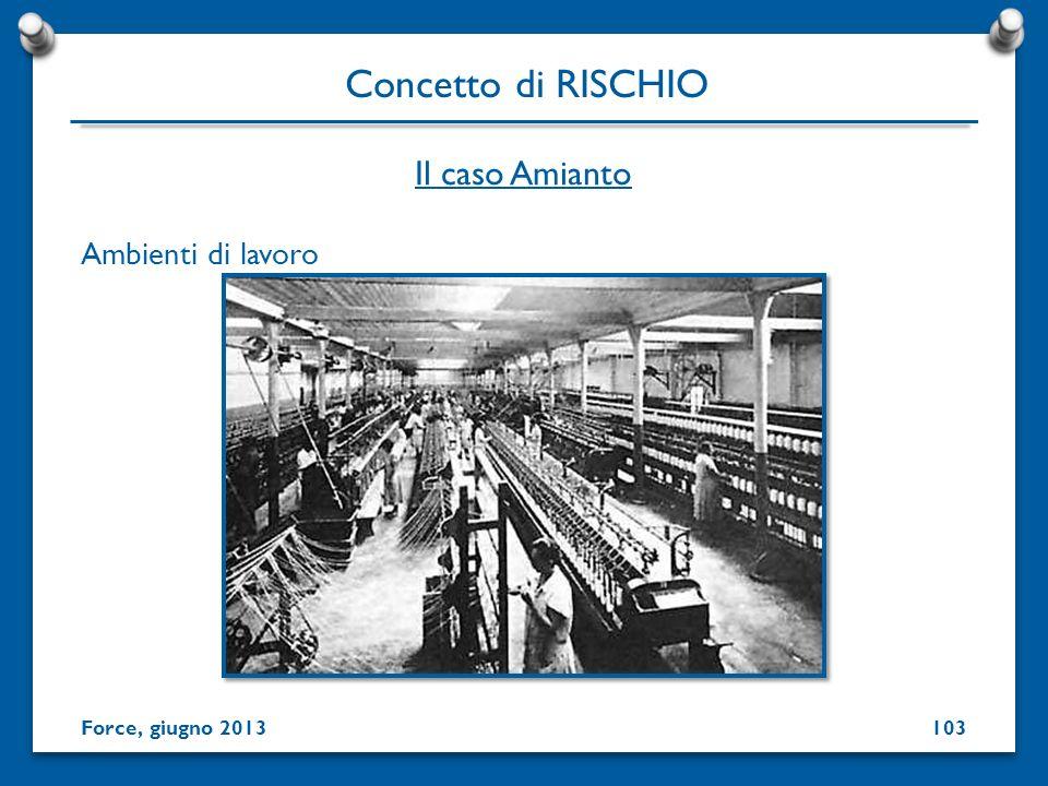 Ambienti di lavoro Concetto di RISCHIO Force, giugno 2013 Il caso Amianto 103