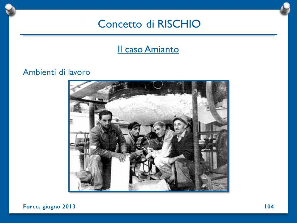 Ambienti di lavoro Concetto di RISCHIO Force, giugno 2013 Il caso Amianto 104