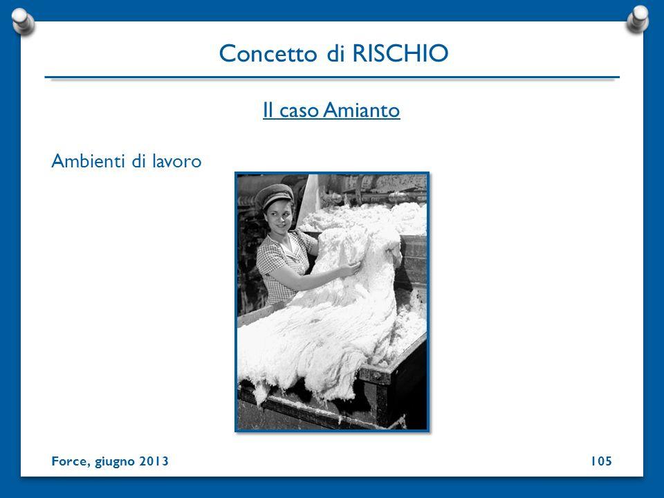 Ambienti di lavoro Concetto di RISCHIO Force, giugno 2013 Il caso Amianto 105