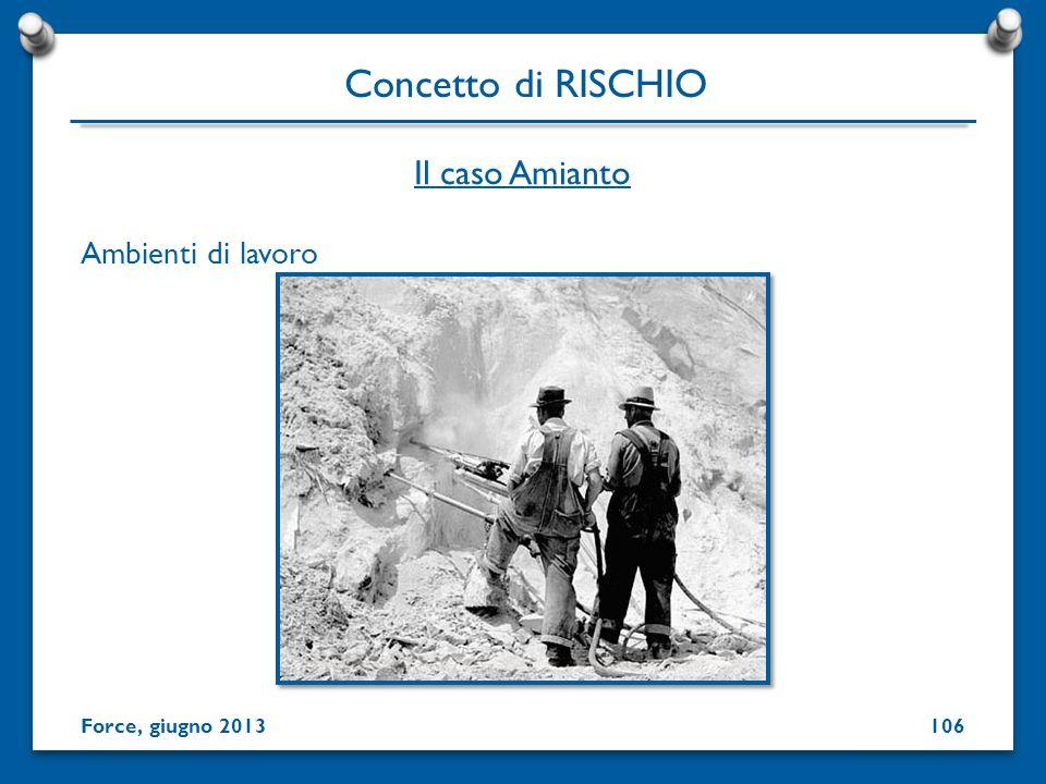 Ambienti di lavoro Concetto di RISCHIO Force, giugno 2013 Il caso Amianto 106