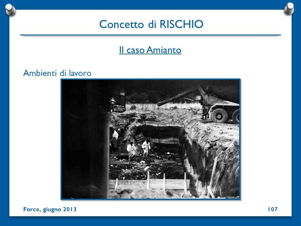Ambienti di lavoro Concetto di RISCHIO Force, giugno 2013 Il caso Amianto 107