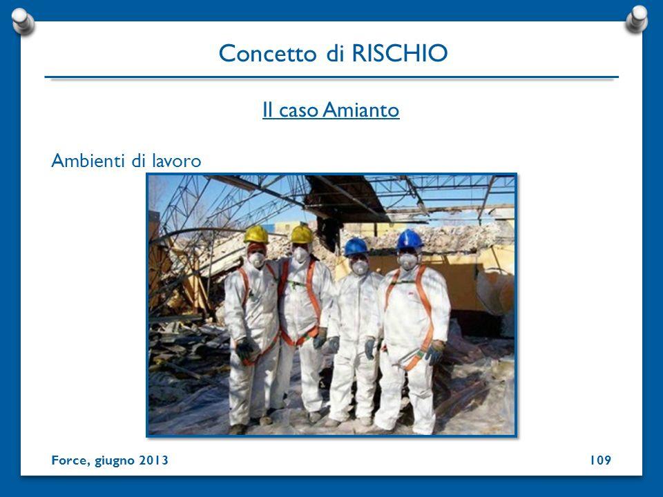 Ambienti di lavoro Concetto di RISCHIO Force, giugno 2013 Il caso Amianto 109