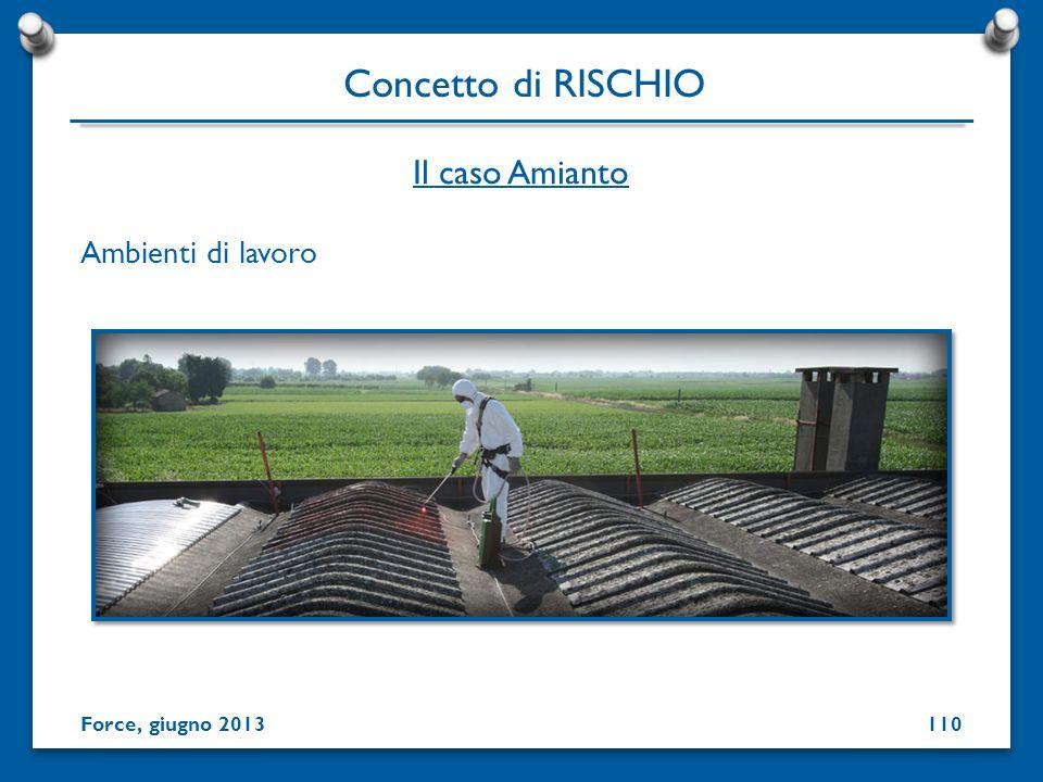 Ambienti di lavoro Concetto di RISCHIO Force, giugno 2013 Il caso Amianto 110