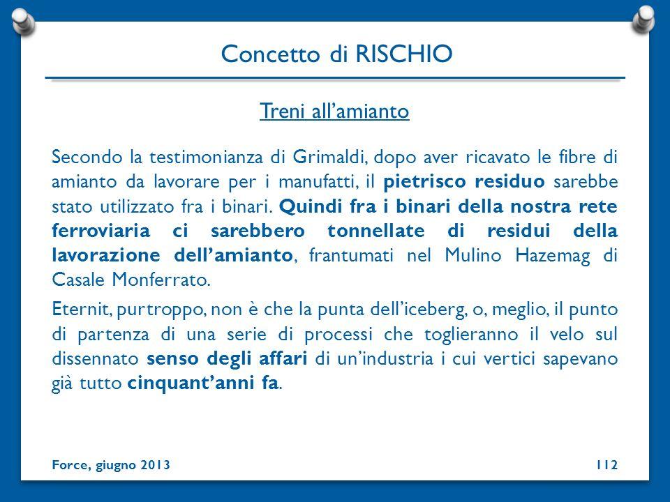 Secondo la testimonianza di Grimaldi, dopo aver ricavato le fibre di amianto da lavorare per i manufatti, il pietrisco residuo sarebbe stato utilizzat