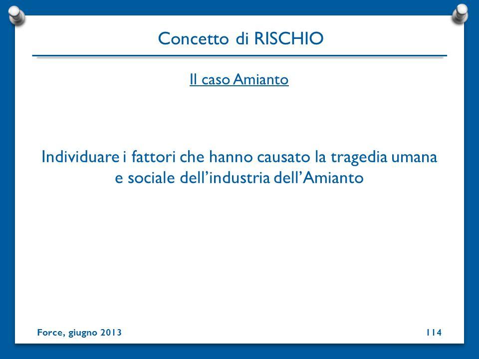 Individuare i fattori che hanno causato la tragedia umana e sociale dellindustria dellAmianto Concetto di RISCHIO Force, giugno 2013 Il caso Amianto 1