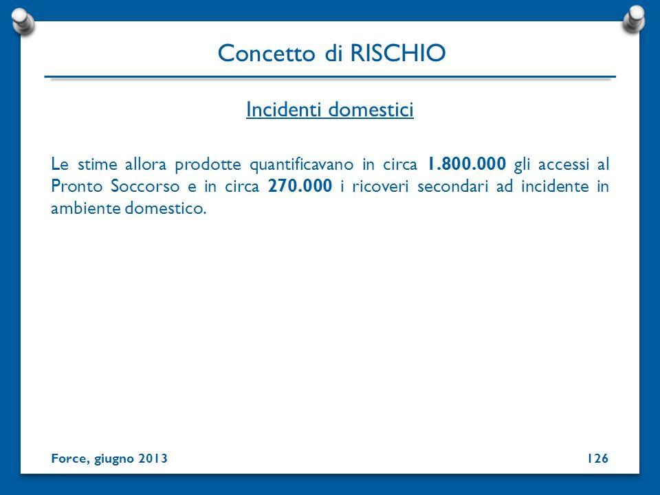 Incidenti domestici Concetto di RISCHIO Force, giugno 2013126 Le stime allora prodotte quantificavano in circa 1.800.000 gli accessi al Pronto Soccors