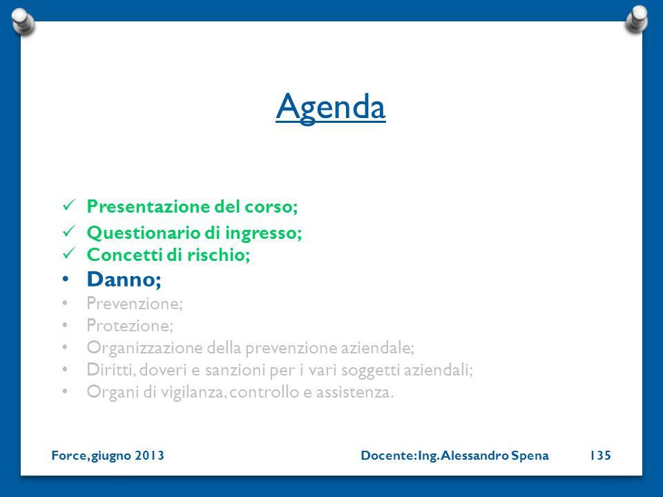 Docente: Ing. Alessandro SpenaForce, giugno 2013135 Presentazione del corso; Questionario di ingresso; Concetti di rischio; Danno; Prevenzione; Protez