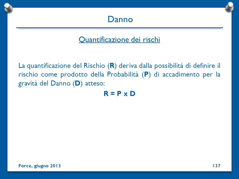 La quantificazione del Rischio (R) deriva dalla possibilità di definire il rischio come prodotto della Probabilità (P) di accadimento per la gravità d